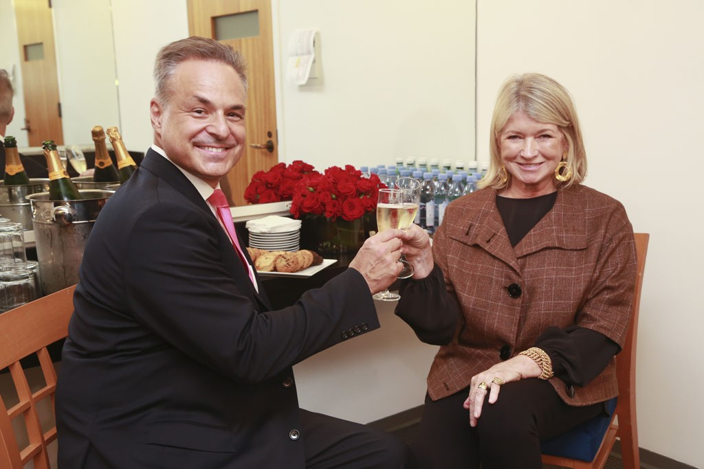 """Clint Arthur and Martha Stewart backstage during """"Living Legends of Entrepreneurial Marketing"""" at Carnegie Hall"""